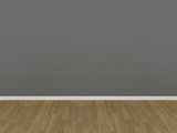gray wall and wood floor,3d