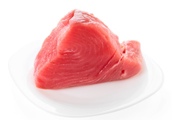Tuna fillet on plate, isolated