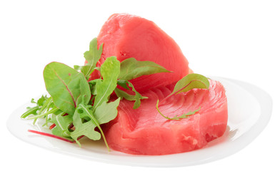 Tuna steaks with salad isolated on white