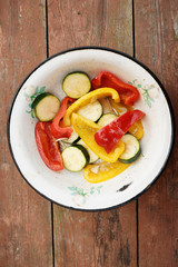 Marinated vegetables in old dish