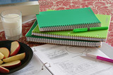 School notebooks with Apple Snacks