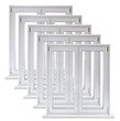 Lot of white plastic double door windows on white background