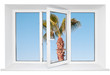 White plastic triple window with palm tree on blue sky. Isolated