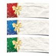 Christmas banners. Festive crumpled paper background.