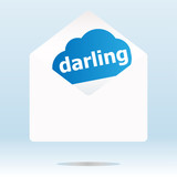 mail envelope with darling word on blue cloud poster