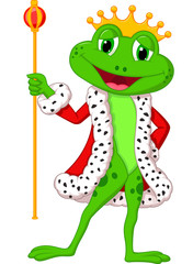Cute king frog with royal stick