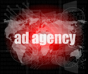 Pixeled word Ad agency on digital screen 3d render