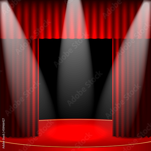 theatrical background.scene and red curtains.Interior for the th