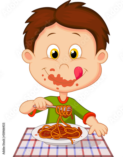 Cartoon boy eating spaghetti