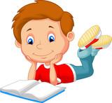 Fototapety Cute boy cartoon reading book