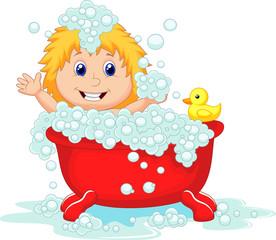 Girl bathing in the red bath tub