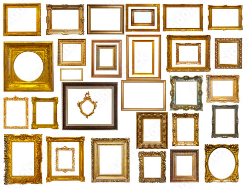 Set of many gold frames. Isolated over white