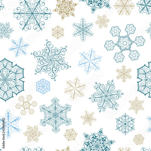 Christmas seamless pattern with big and small snowflakes