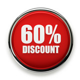 Red 60 percent discount button with silver border