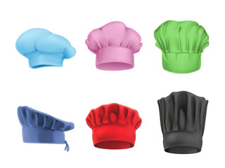 Chef hats multicolored set