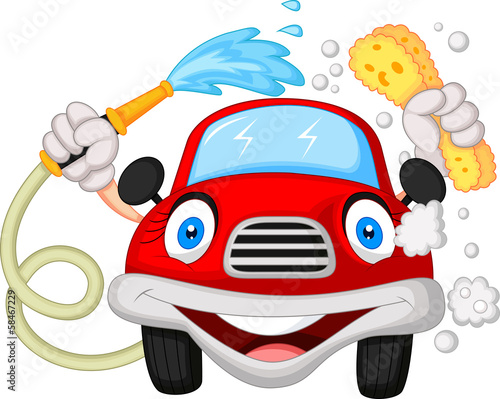 Cartoon car washing with water pipe and sponge