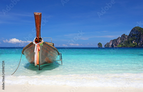 Thai longtail boat on Phi Phi island Thailand