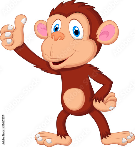 Cute monkey giving thumb up