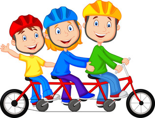 Happy family riding triple bicycle