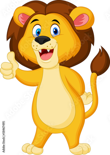Cute lion giving thumb up
