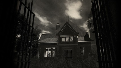 Scary House 3D animation vintage design