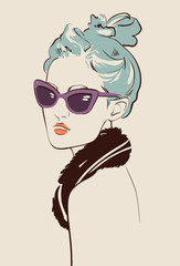woman wearing sun glasses portrait