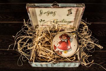 box with a Christmas toy, decoupage, handmade