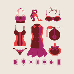 collection of isolated woman clothes and accessories