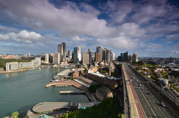 View of the business center of Sydney with the Harbour Bridge. A