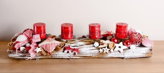 Interior Christmas decoration on the table closeup.