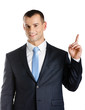 Businessman pointing up hand gesture, isolated
