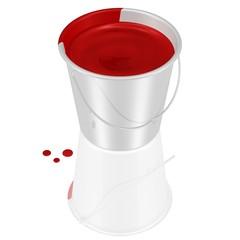 Eimer mit Blut oder roter Farbe