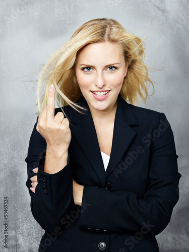 Business woman gives somebody the finger