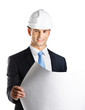 Engineer in hard hat hands layout, isolated on white