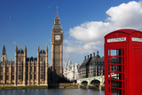 Big Ben with red telephone box in London, England