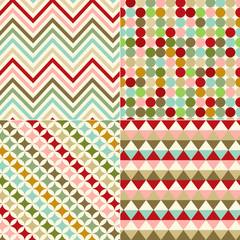 seamless retro polka dots, stripes, zig zag background