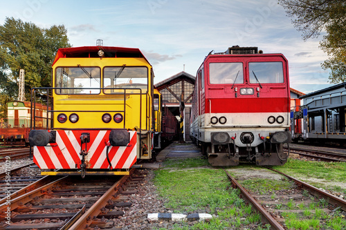 Two trains in depot