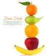 Fruits  in a row isolated on white