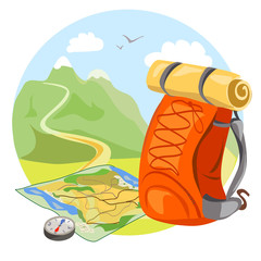 backpack, map,  compass on mountain landscape