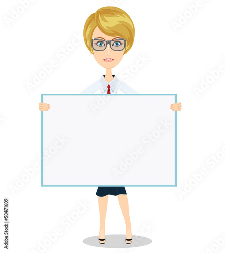 Cute girl holding a large blank banner for your text