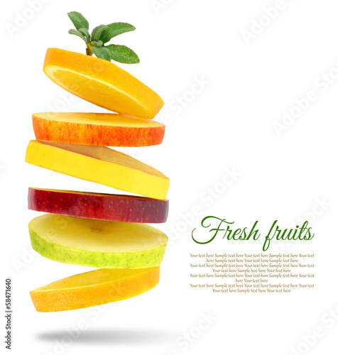 Fresh slices of fruits