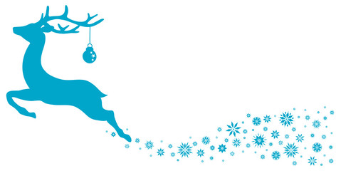 Reindeer With Christmas Ball Stars Blue
