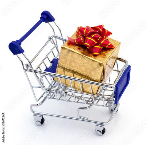 golden gift in shopping cart
