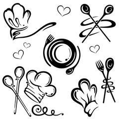 Kochmützen, Koch, Küche Vektor Set