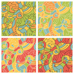 Vector set: seamless abstract colored patterns