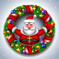 Santa Claus with a Christmas wreath