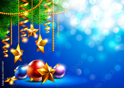 Bright christmas background with Christmas toys