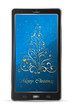 Mobile with blue Christmas background