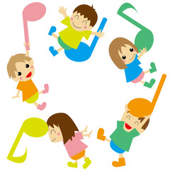 音符と遊ぶ子供たち1