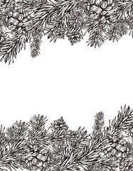 christmas retro pine frame background design